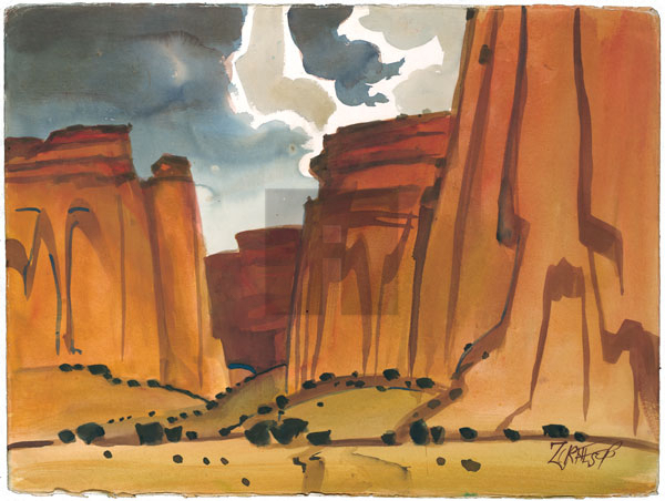 In Canyon De Chelly By Milford Zornes In Canyon De Chelly